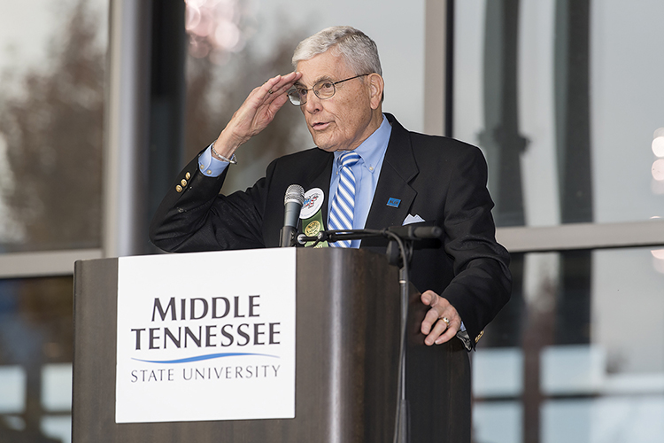 John Hood, MTSU alumnus and director of government and community affairs for the university, salutes during the November 2017 ceremony where he received MTSU's Joe Nunley Award, presented to a veteran each year for his or her service to the country and during his or her career after leaving the military. Hood was announced Jan. 3 as the recipient of the 2018 Doug Young Lifetime Achievement Award from the Rutherford County Chamber of Commerce for his service to the community and university. (MTSU file photo by Andy Heidt)