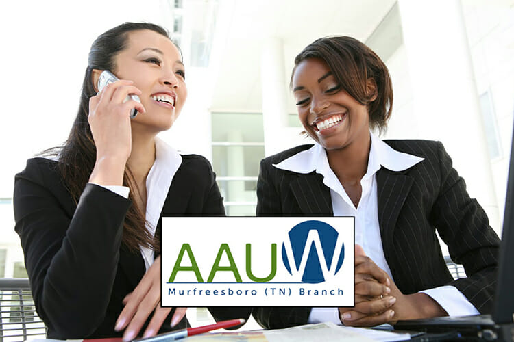 AAUW leadership conf scholarship promo; two young women in an office setting with the AAUW Murfreesboro logo