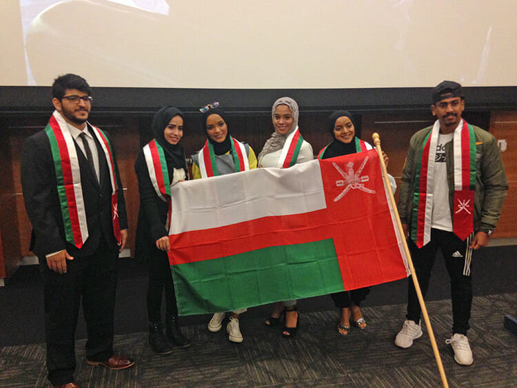 A group of graduating MTSU international students from Oman post for a photo at the Dec. 7 Fall International Undergraduate Reception in the Student Union Ballroom. The event was hosted by the Office of International Affairs. (MTSU photo Jayla Jackson)