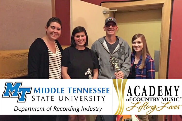 In this 2016 file photo, MTSU songwriting students are shown with Grammy-winning producer Kenny Greenberg (holding guitar) at Omni Sound Studios in Nashville. (Photo courtesy of MTSU Songwriting)
