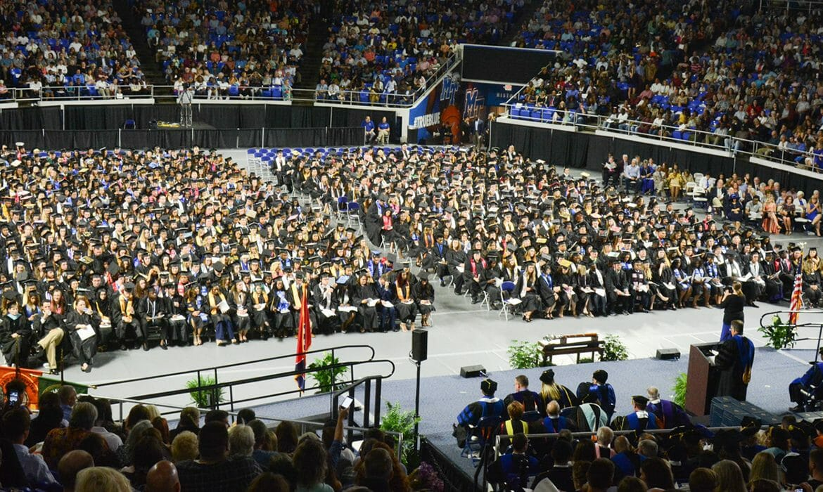 Murphy Center panoramic shot during MTSU May 6, 2017, afternoon commencement ceremony. (GradImages photo — MTSU May 6 Afternoon 2017-45)