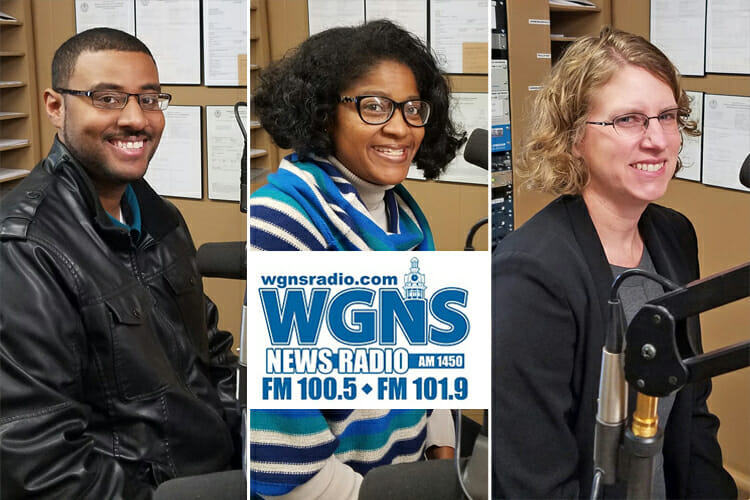 """Guests for the Dec. 18 WGNS """"Action Line"""" program with host Bart Walker are, from left, Daniel Green, director of the Office of Intercultural and Diversity Affairs; Leah Tolbert Lyons, Master of Arts in Liberal Arts program in the MTSU College of Liberal Arts; and associate dean in the MTSU College of Liberal Arts. (MTSU photo ilustration by Jimmy Hart)"""