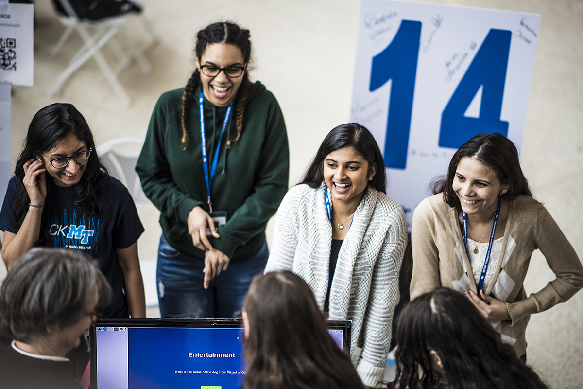All-girl team creates simple trivia game.