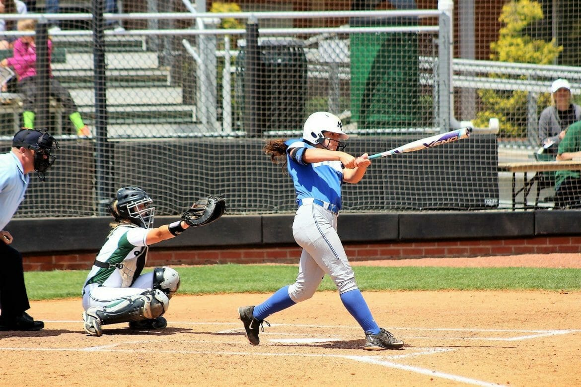 Kirstyn Cuccia hitting the ball.