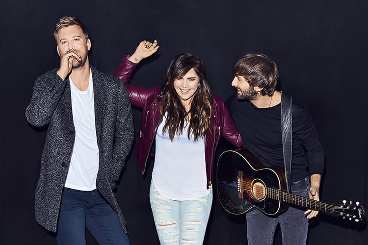Lady Antebellum, which includes former MTSU student Hillary Scott, center, earned its ninth consecutive nomination since 2009 as best vocal group at the 52nd annual Country Music Association Awards, which aired Nov. 14. (Photo courtesy of LadyAntebellum.com)