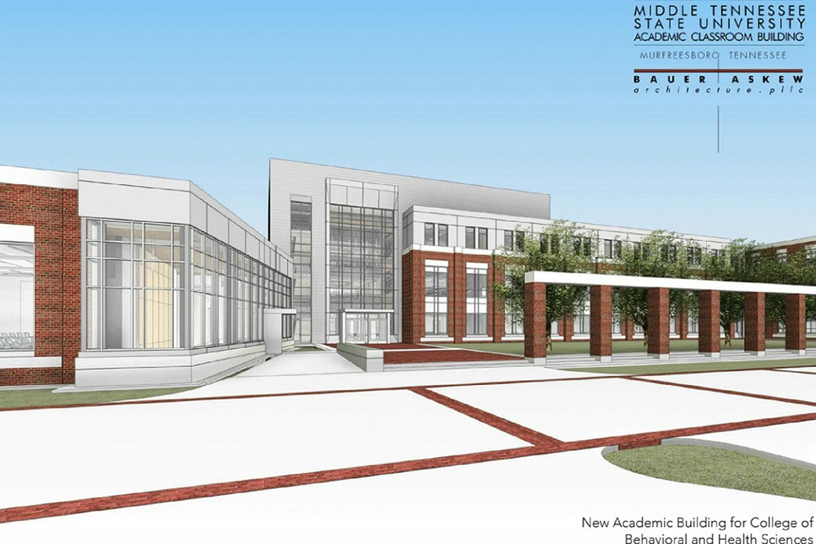 This artist's rendering shows the exterior of the proposed new academic classroom building for MTSU's College of Behavioral and Health Sciences. (Courtesy of MTSU)