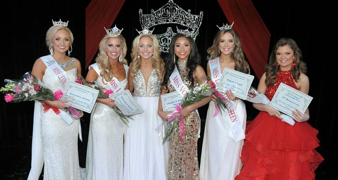MTSU sophomore Elise Stein, third from right, was crowned Miss Volunteer 2018 by reigning Miss Tennessee Caty Davis, third from left, during the Miss Volunteer Scholarship Pageant held in mid-January in Lexington, Tenn. (Submitted photo)