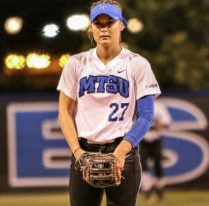 Cori Jennings playing softball.