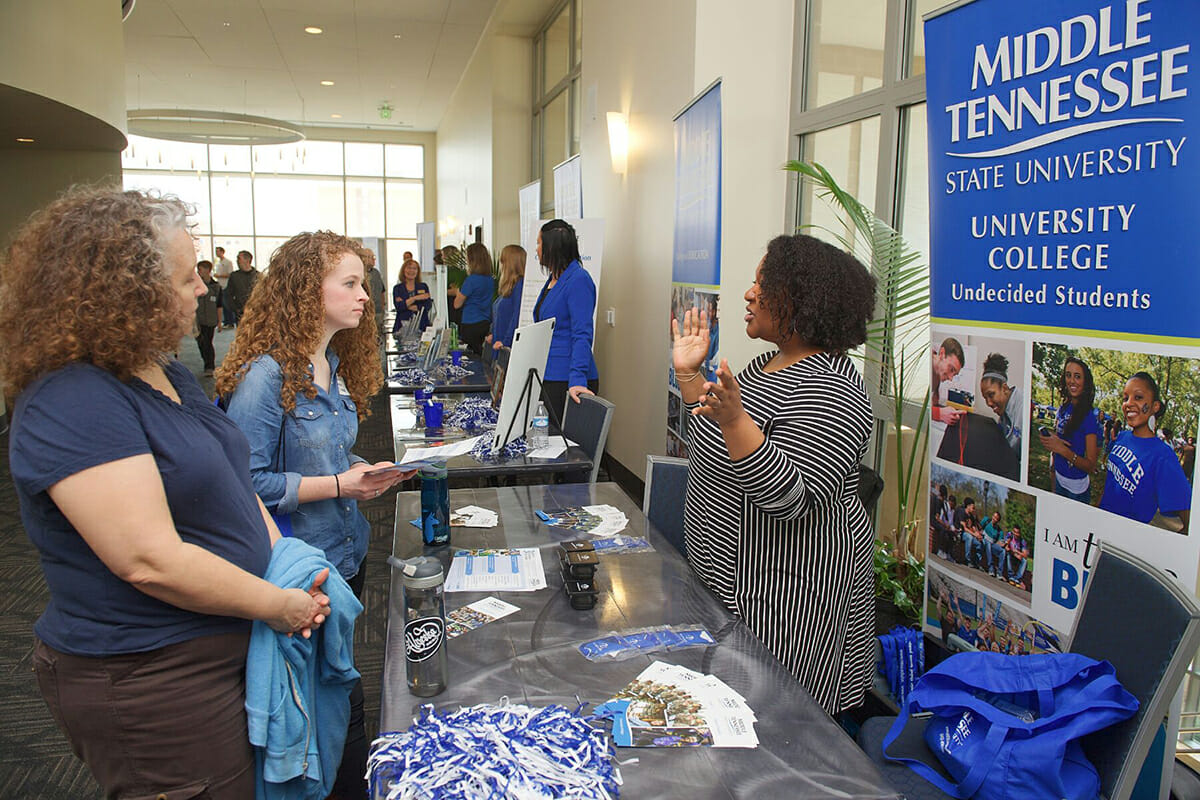 Providing University College information during 2018 MTSU Presidents Day Open House.