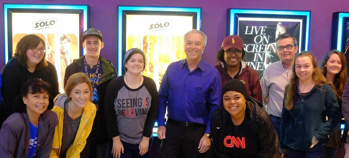 "MTSU College of Media and Entertainment Dean Ken Paulson, center in blue shirt, is joined by a group of students and faculty for a Feb. 10 screening of ""The Post"" movie in Nashville. (Submitted photo)"