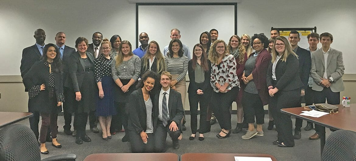 MTSU faculty member, Dr. DeAnne Priddis, second from left, is shown with students from her Organizational Communication course and members from the Tennessee Department of Human Services in this fall 2017 photo. Priddis' students presented a training program on conflict associated with Alternative Workplace Solutions, or AWS, initiatives to state HR staff.