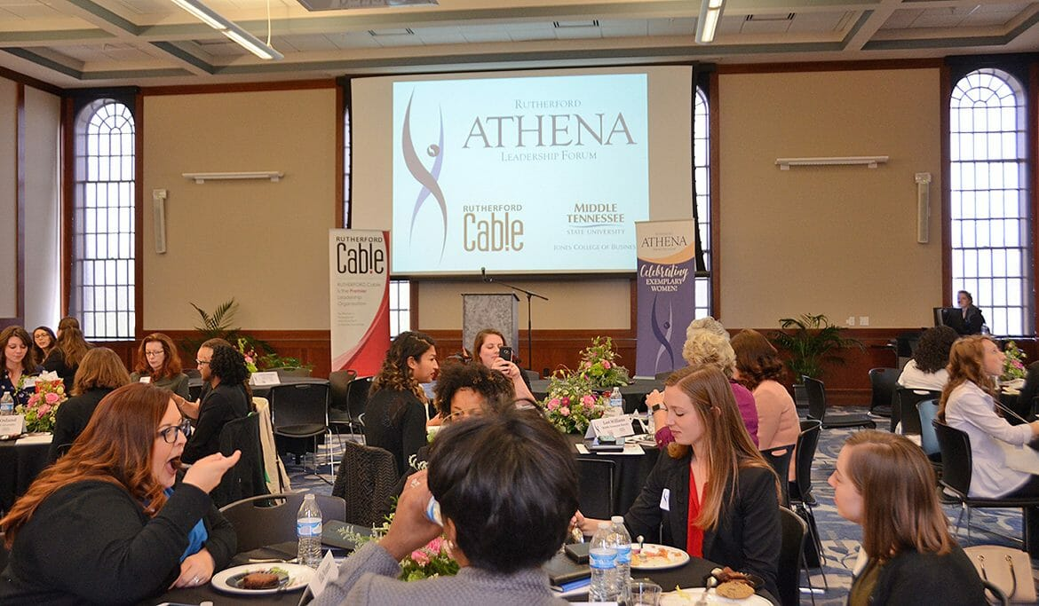MTSU students network with Rutherford Cable members during the third annual Rutherford ATHENA Leadership Forum held March 23 at the MT Center in the Ingram Building at MTSU. (MTSU photo by Jayla Jackson)