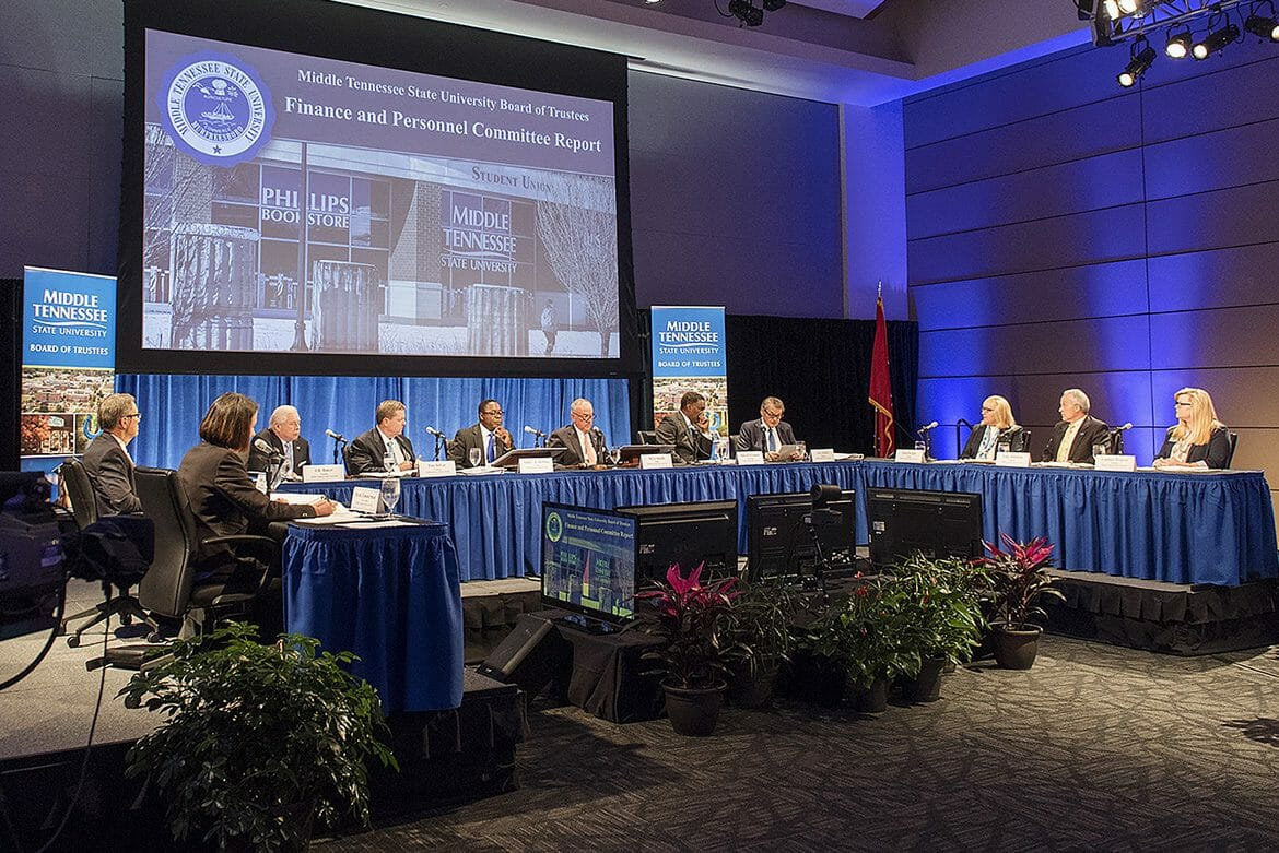 The MTSU Board of Trustees go through their agenda during their March 27 quarterly meeting in the MTSU Student Union Ballroom. (MTSU photo by Andy Heidt)