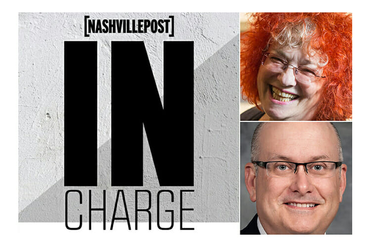 Nashville Post In Charge 2018 graphic, depicting Jessie Scott of WMOT and Andrew Oppmann of the Division of Marketing and Communications