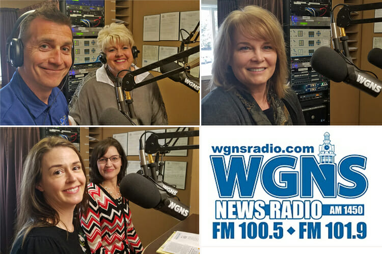 "MTSU faculty and staff appeared March 19 on the WGNS Radio ""Action Line"" program to discuss MTSU programs and events. Pictured are (top left, from left) Dr. Nate Callender, associate professor in the Aerospace Department, and Connie Huddleston, events coordinator in the College of Liberal Arts; (bottom left, from left) Dr. Jennifer Cooper, director of the Tennessee Center for the Study and Treatment of Dyslexia, and Dr. Melinda Hirschmann, assistant director of educational outreach for the center; and, at right, Laura Buckner, an instructor and internship coordinator in the Department of Marketing. (MTSU photo illustration by Jimmy Hart)"