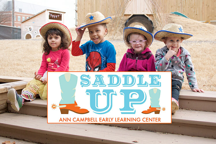 ACE Learning Center kids in cowboy hats with Saddle Up logo for 2018 event