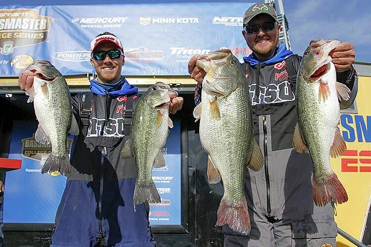 MTSU students Mekiah Jack, left, and Matthew Cross hold their April 19 catches in the Carhartt Bassmaster College Series Southern Tour on Pickwick Lake in Florence, Ala. The bass at center right, in Cross' right hand, is the 8-pound, 2-ounce largemouth that won the Big Bass Award for the MTSU team. (Photo submitted)
