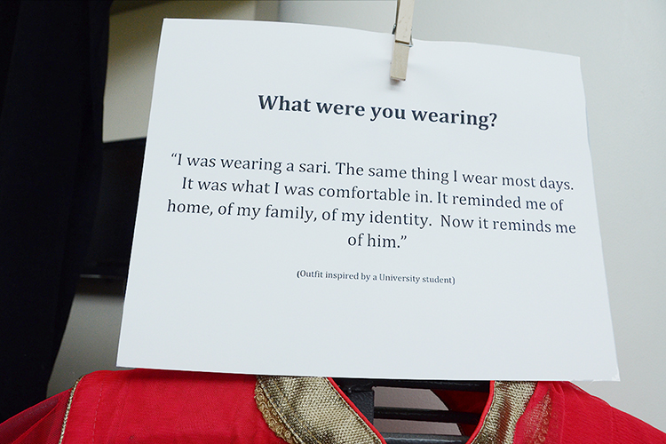 """One of the anonymous stories of sexual assault is shown as part of the """"What Were You Wearing?"""" sexual assault awareness exhibit on display April 2-6 in the MTSU Campus Recreation Center lobby. (MTSU photo by Jayla Jackson)"""