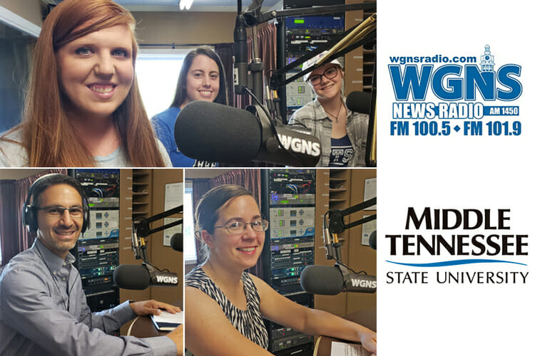 "MTSU guests for the May 21 ""Action Line"" program on WGNS Radio are shown inside the station's studio in downtown Murfreesboro. Pictured are, at top from left, Ariel L. Herrin, director of MTSU Equestrian Programs, and team members Patricia Wingate and Mary Catherine Wade; bottom left, Dr. Charlie Apigian, interim director of the new Data Science Institute at MTSU; and bottom right, Dr. Stacey Graham, research professor at the MTSU Center for Historic Preservation. (MTSU photo illustration by Jimmy Hart)"