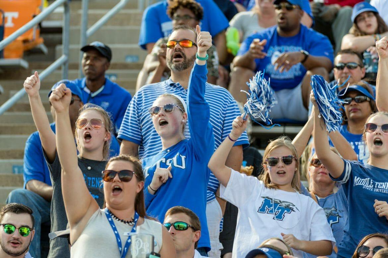 Blue Raider fans cheer on MTSU Football in Floyd Stadium. Photo by J. Intintoli.