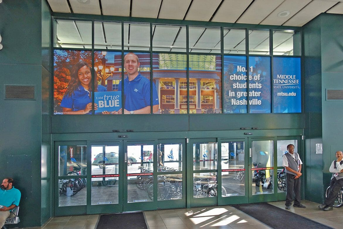 "This promotional display inside the Nashville airport was part of the award-winning ""Take a Closer Look"" marketing campaign developed by the MTSU Division of Marketing and Communication. (MTSU photo)"