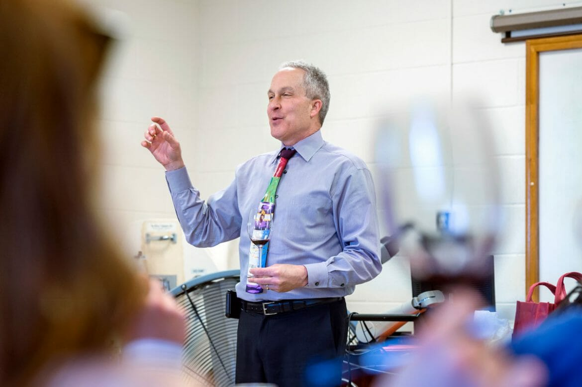 MTSU Fermentation Science professor, Dr. Tony Johnston, addressing his Winemaking class at MTSU. Photo by J. Intintoli.