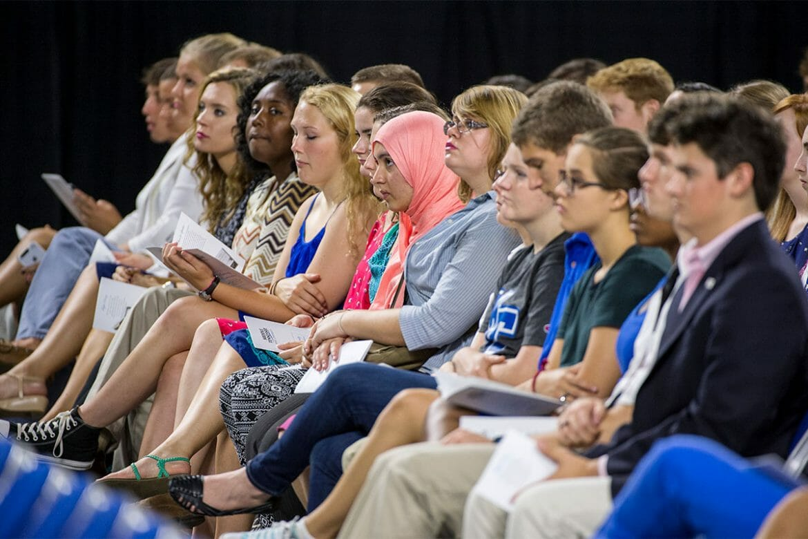 MTSU Freshman Buchanan Fellows and Transfer Fellows listen to speaker Jay Allison during the 2015 Convocation at Murphy Center. Photo by Andy Heidt.