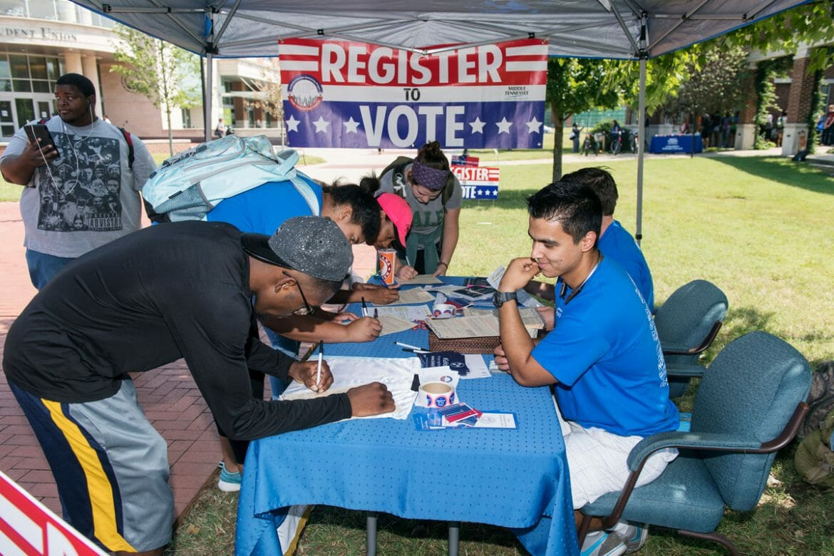 MTSU students register to vote outside Student Union Building.