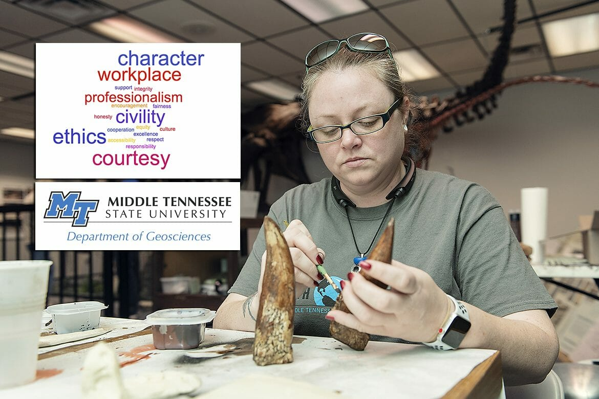 MTSU geosciences major Novella Greer creates a replica of a dinosaur tooth at