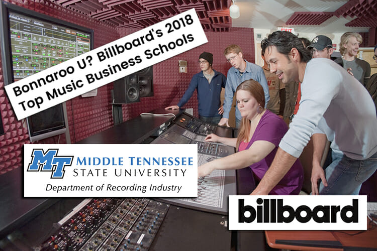 Billboard 2018 top music business schools list info and logos plus Department of Recording Industry professor Matt Foglia works with students in his audio production class inside Ezell Studio D, one of the fully equipped music recording and production studios for students in MTSU's College of Media and Entertainment. (MTSU file photo by Andy Heidt)