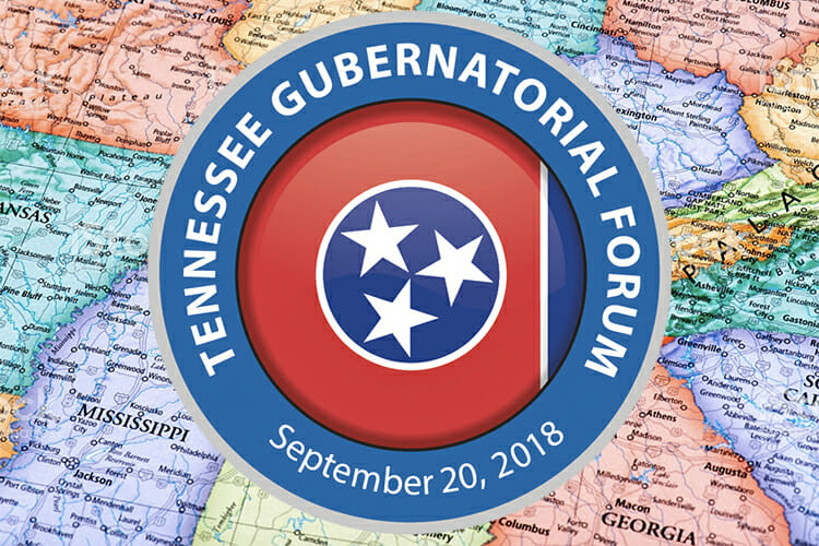 Tennessee Gubernatorial Forum 2018 logo overlaid on a map of Tennesseee and its adjoining states