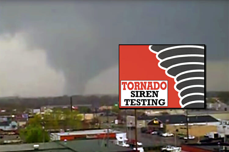 new tornado siren testing promo - shows video screeengrab of Murfreesboro looking northwest during the Good Friday 2009 tornado and the old tornado graphic from Record ads