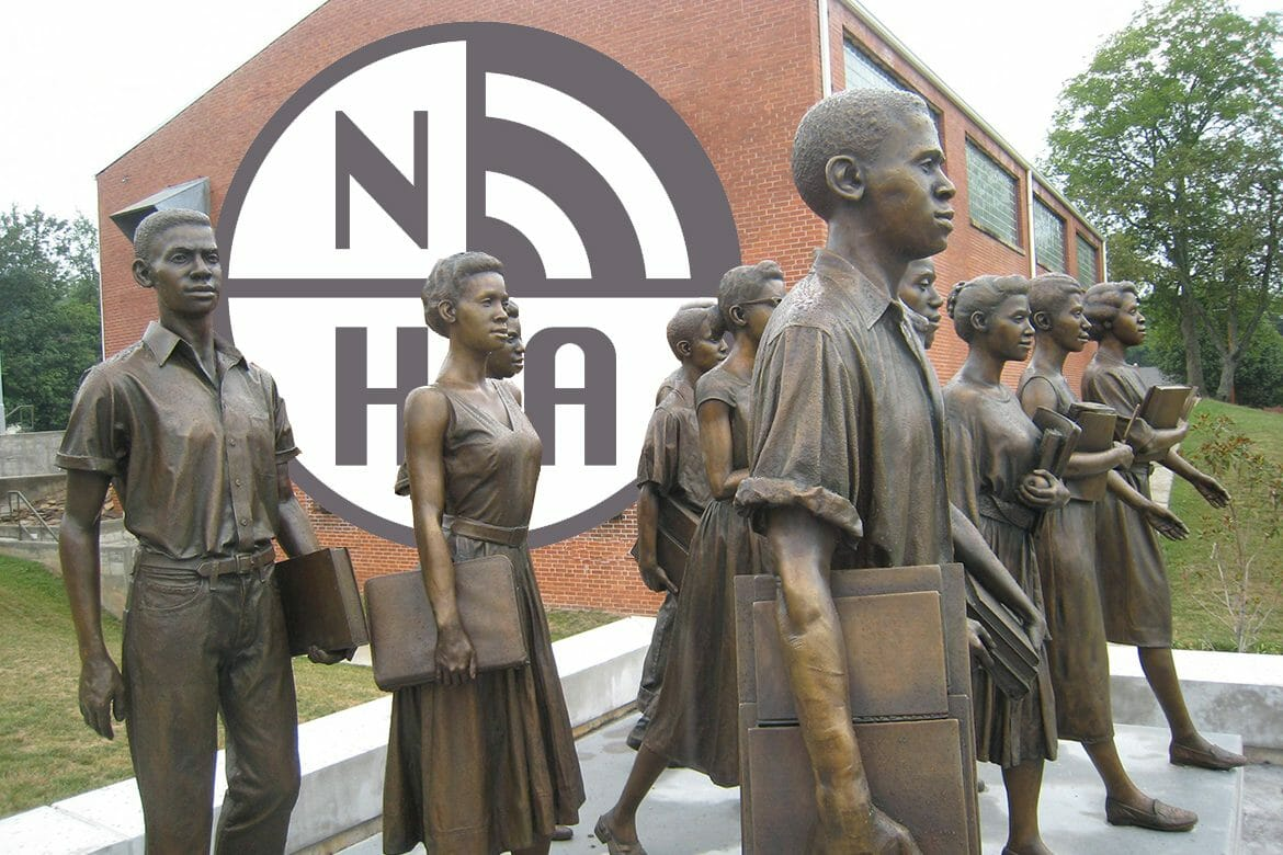Larger-than-life bronze statues of the 12 Tennessee students who were the first African-Americans to be admitted to Clinton High School stand outside the Green McAdoo Cultural Center, formerly the Green McAdoo School, where the students gathered each day in September of 1956 to walk together to the previously segregated public high school. Clinton was the site of the first successful desegregation of a state-supported high school in the South after the landmark 1954 Brown v. Board of Education decision of the U.S. Supreme Court. The photo is part of