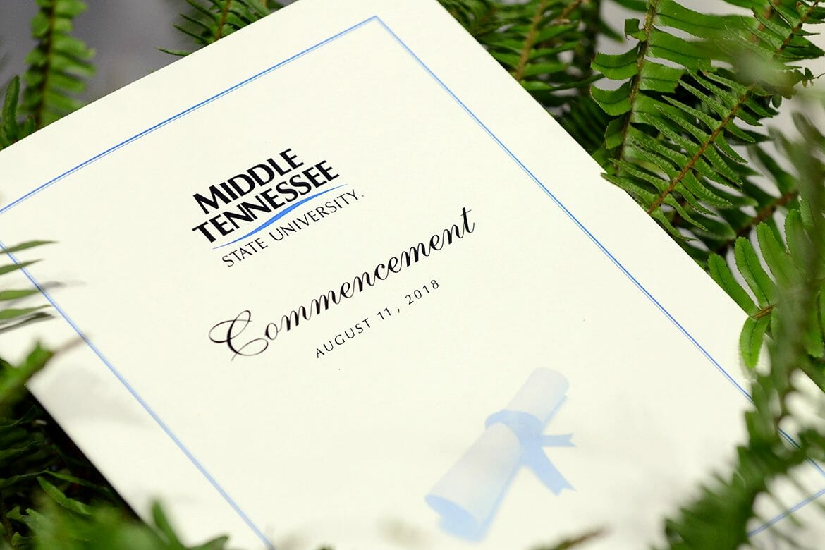 Cover of summer 2017 MTSU graduation program, revised for summer 2018 usage. (MTSU photo by GradImages)