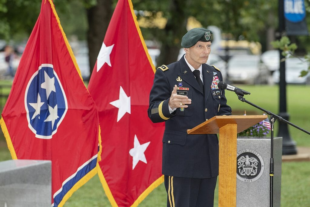 Keith M. Huber, retired U.S. Army Lt. General and senior adviser for MTSU veterans and leadership initiatives, addresses the crowd at a 9/11 Remembrance ceremony.