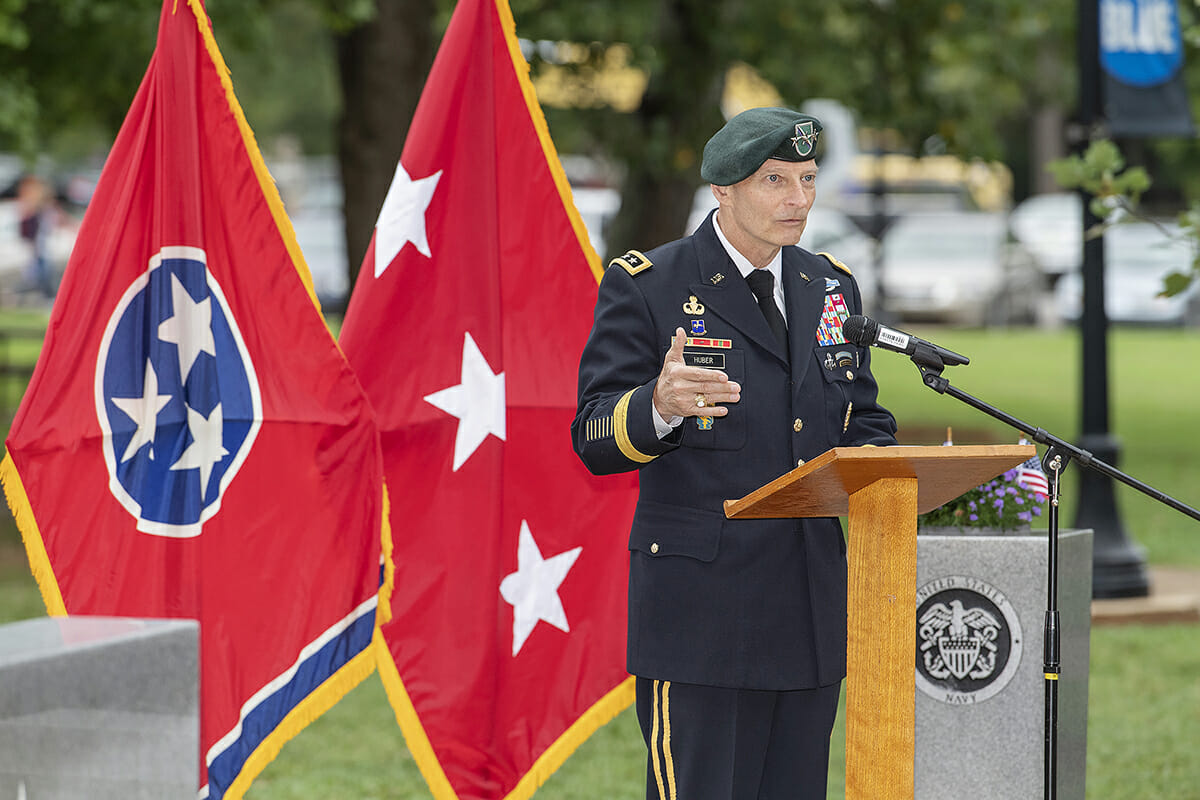 Keith M. Huber speaks during 9/11 Observance at MTSU Sept. 11