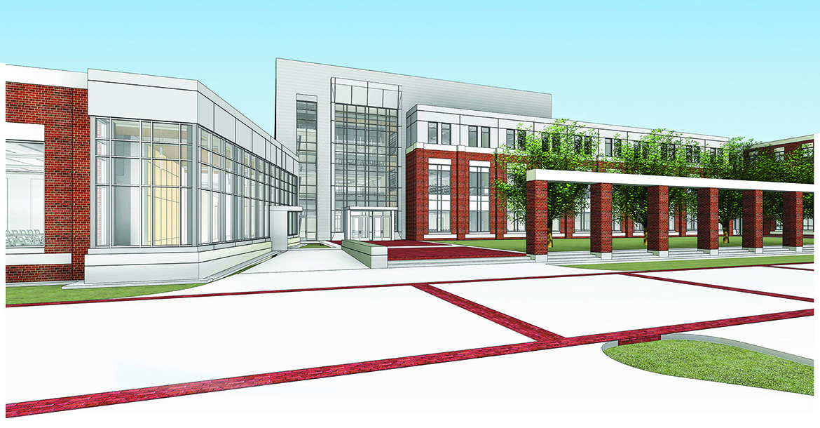 This architectural rendering by shows the exterior of the new academic building that will house the criminal justice, psychology and social work programs within the College of Behavioral and Health Sciences.