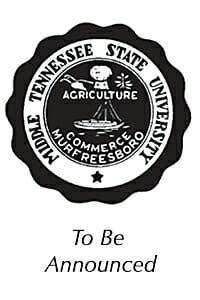 """Commencement Speaker photo placeholder with the MTSU seal and """"To Be Announced"""" below it"""