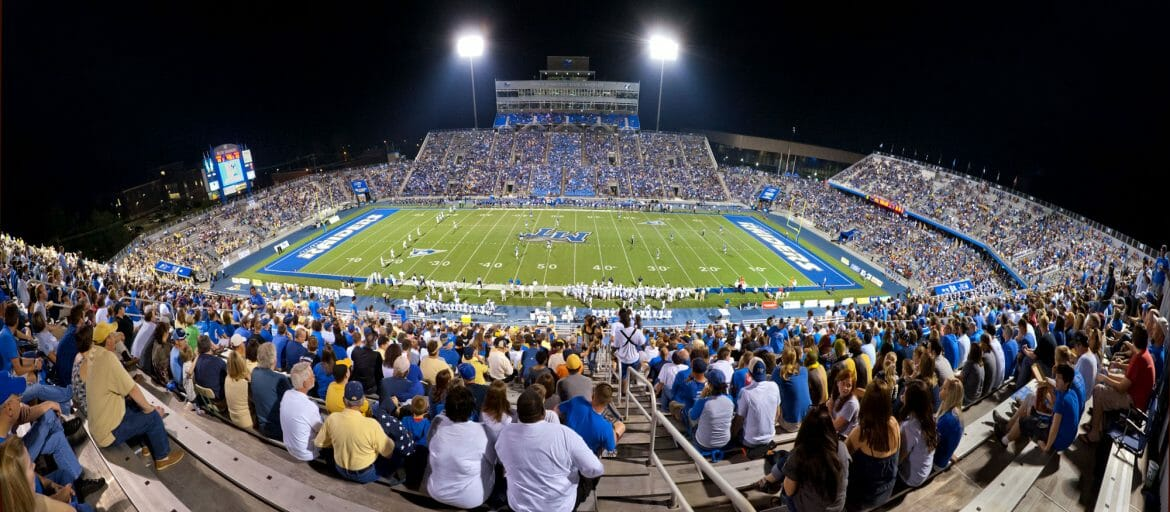Panorama of Floyd Stadium from the bleechers during an MTSU home football game. Photo courtesy Blue Raider Athletics.