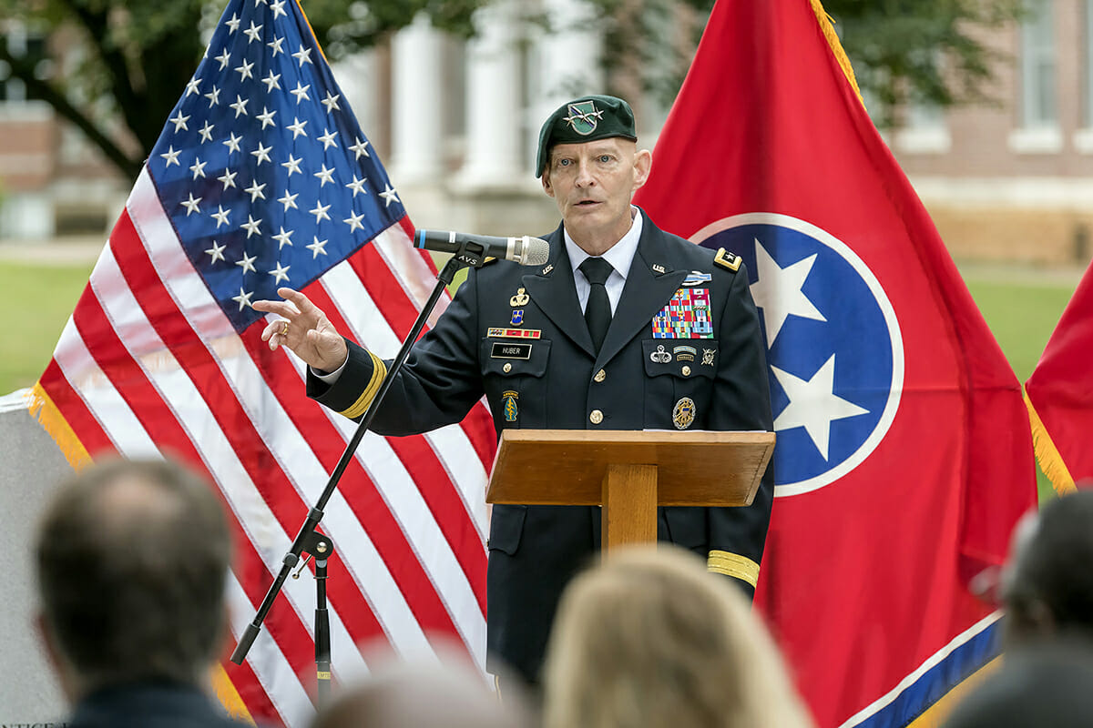 Keith M. Huber, senior adviser for veterans and leadership initiatives at MTSU and retired U.S. Army lieutenant general, recalls where he was Sept. 11, 2001, and how it affected the latter years of his military career before retiring. He shared this during the MTSU 9/11 Remembrance at the Military Memorial site in September 2017 outside the Tom H. Jackson Building. (MTSU photo by J. Intintoli)