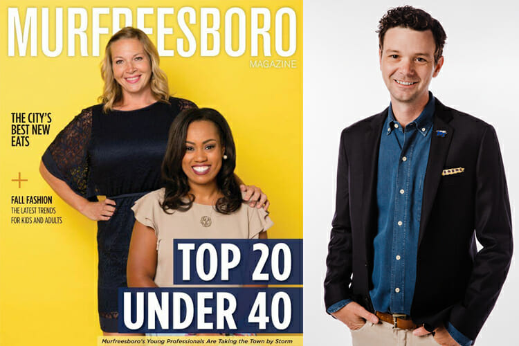 At left is the cover of the Murfreesboro Magazine's Top 20 Under 40 edition. At right is Rob Janson, strategic content manager, MTSU Division of Marketing and Communications. (Photos courtesy of Murfreesboro Magazine)