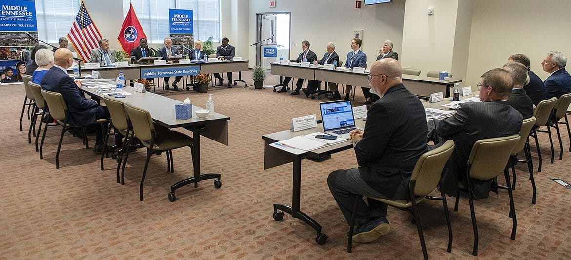 Members of the MTSU Board of Trustees go through their agenda during the Tuesday, Sept. 18, quarterly meeting inside the Miller Education Center on Bell Street. (MTSU photo by Andy Heidt)