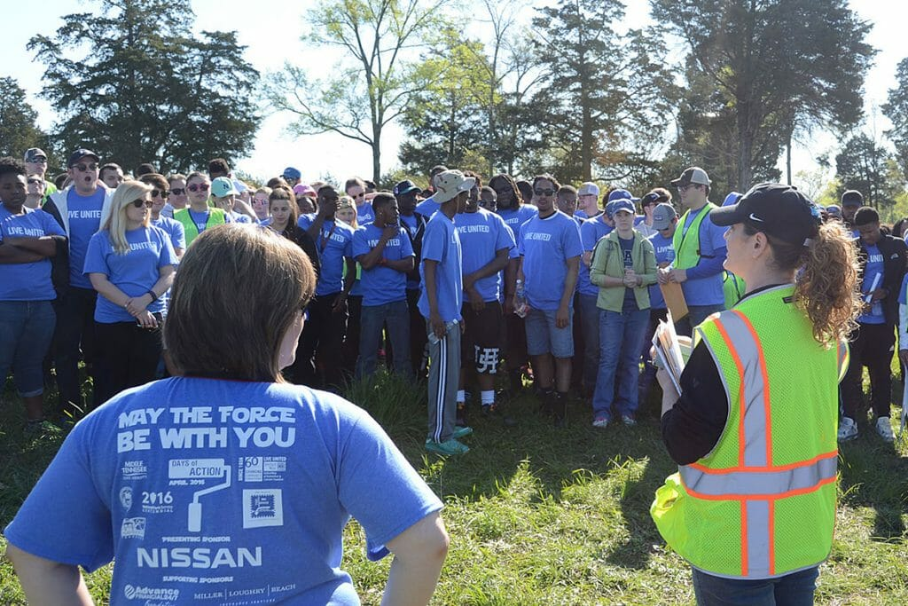 MTSU students get instructions Saturday, April 16, before beginning their work at the BIG Event community service activity at Old Fort Park.
