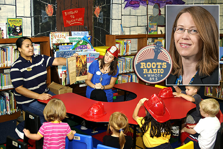 """file photo from """"Story Time"""" at Andersen Air Force Base Library in Guam with a photo of Dr. Karen Reed and the WMOT Roots Radio logo included"""