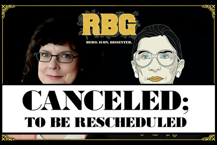 "canceled screening promo illustration using ""RBG"" movie poster with drawing of Justice Ruth Bader Ginsburg and photo of co-director Julie Cohen"