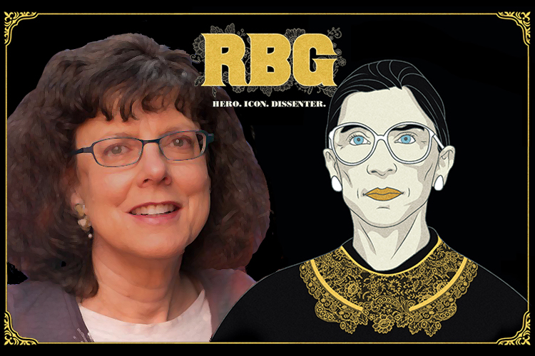 "screening promo illustration using ""RBG"" movie poster with drawing of Justice Ruth Bader Ginsburg and photo of co-director Julie Cohen"