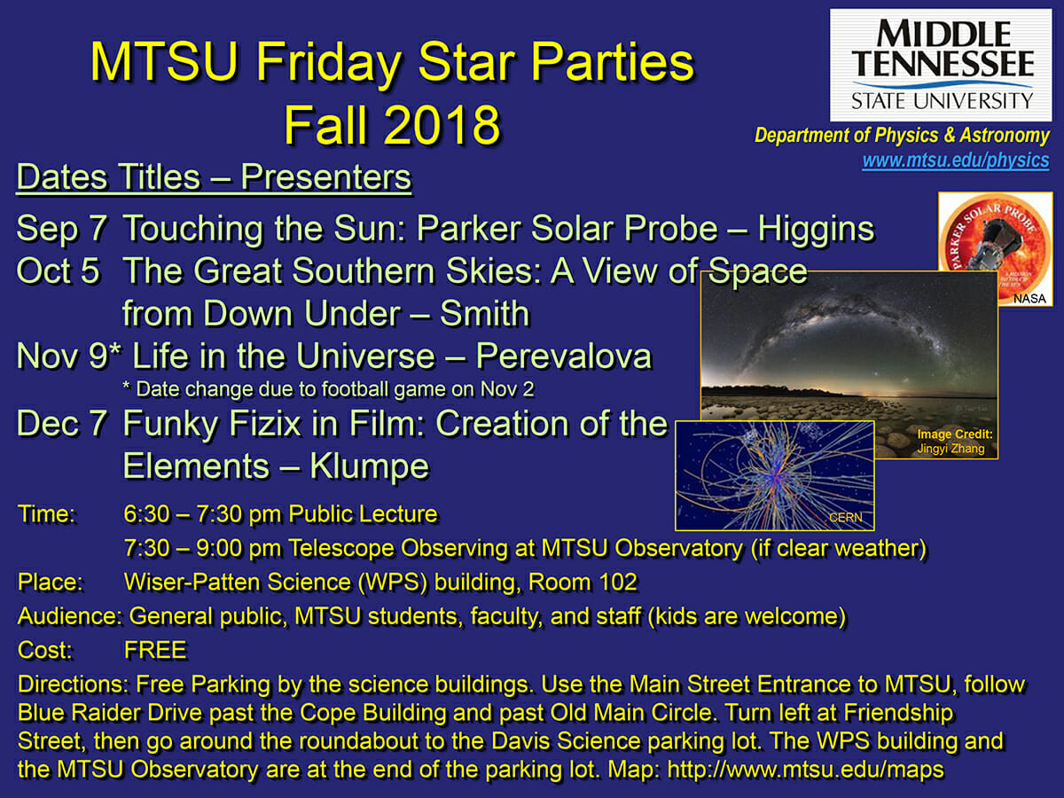 The fall 2018 Star Party lecture series