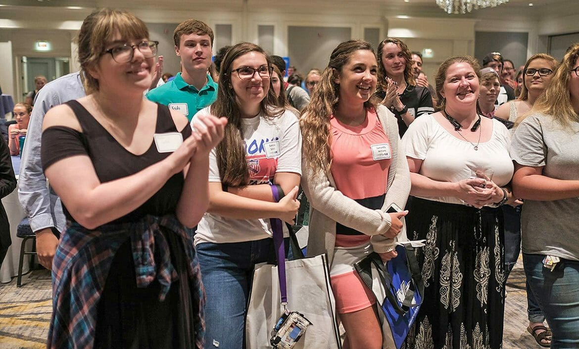 Williamson County students show enthusiasm during 2017 True Blue Tour event.