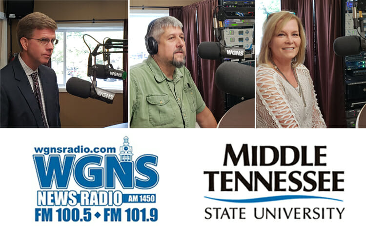 "MTSU faculty and staff appeared on the Sept. 17 WGNS Radio ""Action Line"" program with host Bart Walker. Pictured, from left, are Dr. Steve Severn, new chair of the MTSU Department of English; Alan Brown, a lecturer in the Department of Geosciences and co-creator of the Earth Experience natural history museum; and Laura Buckner, an instructor in the Department of Marketing in the Jones College of Business. (MTSU photo illustration by Jimmy Hart)"