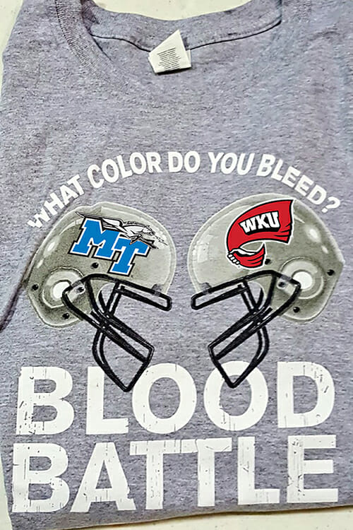 "MTSU blood donors at the 2018 ""Bleed Blue, Beat WKU"" community blood drive Oct. 29-31 will receive one of the custom ""Blood Battle"" T-shirts as thanks for their lifesaving gift. (MTSU photo)"